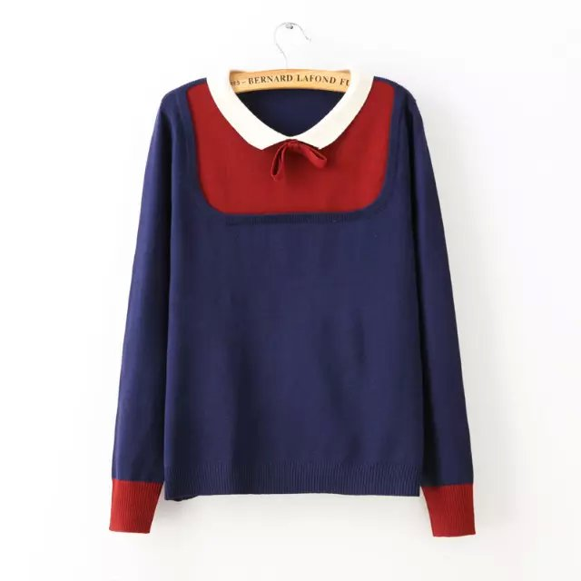 Women Autumn Fashion cute school style blue Knitted ...