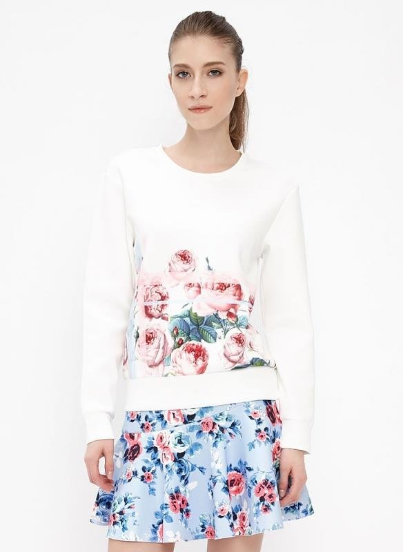 Women Autumn Fashion Floral Rose print white Pullover ...