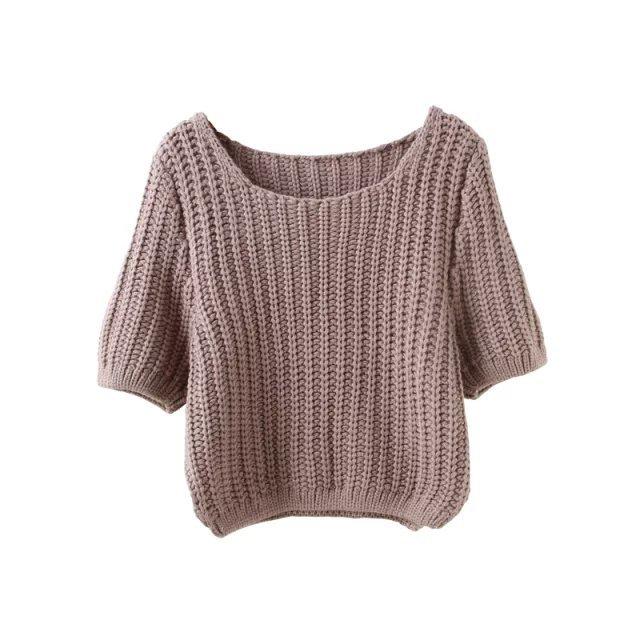 Women Autumn fashion Knitted short Sweaters Khaki stretch ...