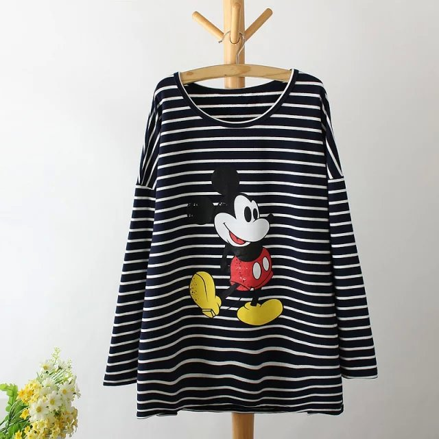 Women Autumn thick Fashion Striped Cartoon Print O-Neck ...