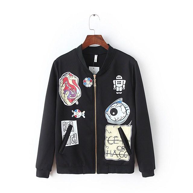Women baseball jacket Fashion Autumn Cartoon Print Zipper ...