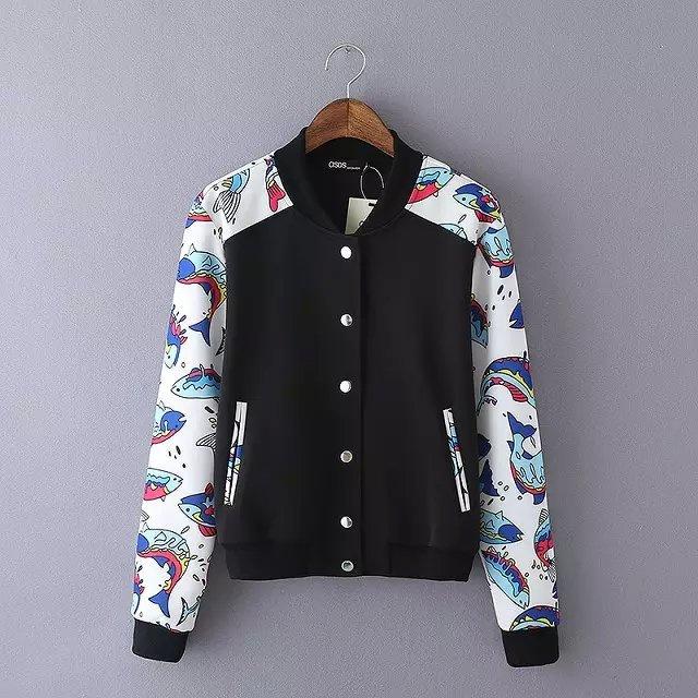 Women baseball jacket Fashion Autumn fish pattern Patchwork ...