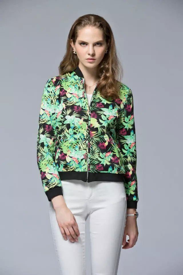 Women baseball jacket Fashion Autumn Floral print zipper ...