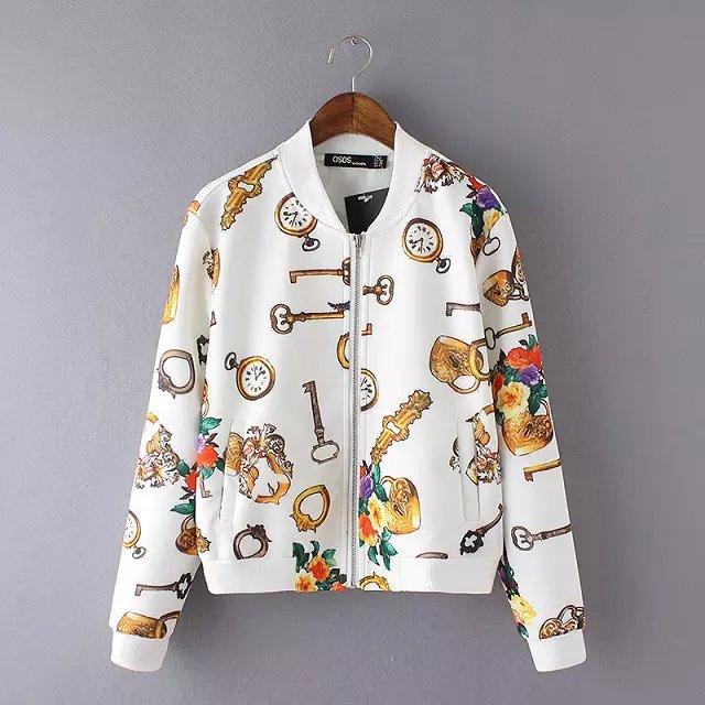 women baseball jacket Fashion Autumn Key buckle pattern ...
