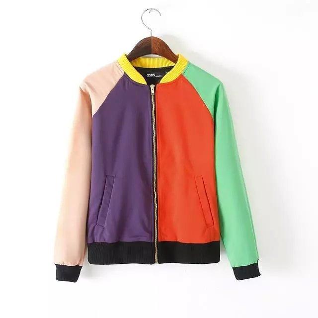 Women baseball jacket Fashion Autumn patchwork colorful ...