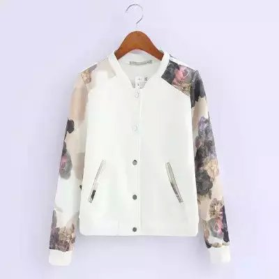 Women baseball jacket Fashion Autumn White Floral print ...