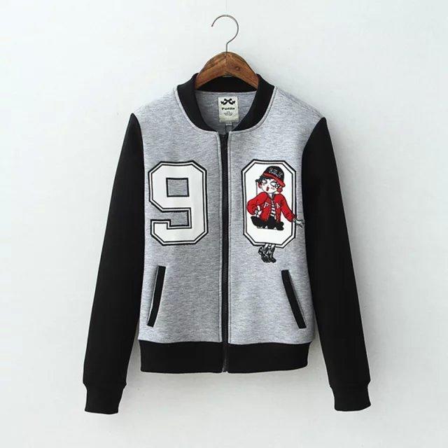 Women baseball jacket Fashion Autumn Zipper pocket Casual ...