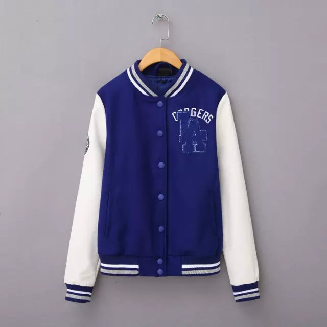 Women baseball jacket Fashion Blue Letter Embroidery ...