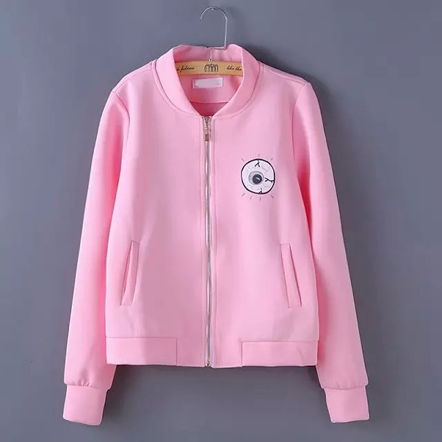 Women baseball jacket Fashion Pink Eye Letter Print ...