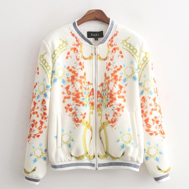 Women baseball jacket Fashion Spring Floral Print Zipper ...