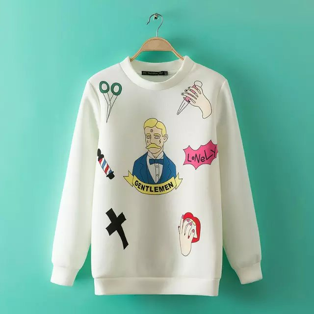 Women Baseball Sweatshirts Autumn Fashion Cartoon Pattern ...