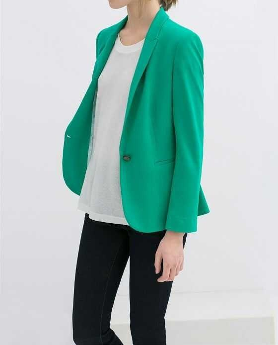 Women blazer jacket fashion long sleeve Green Office ...