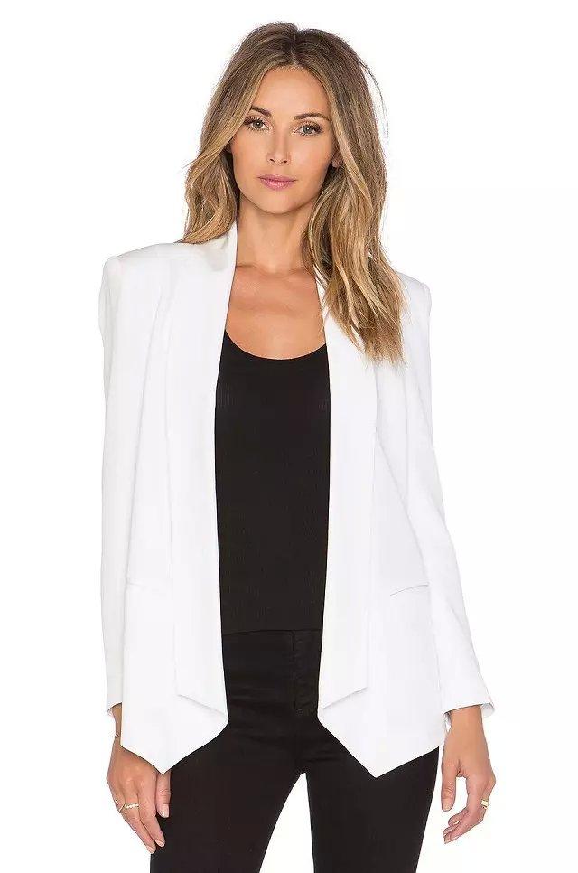 Women blazer jacket fashion long sleeve White Office ...
