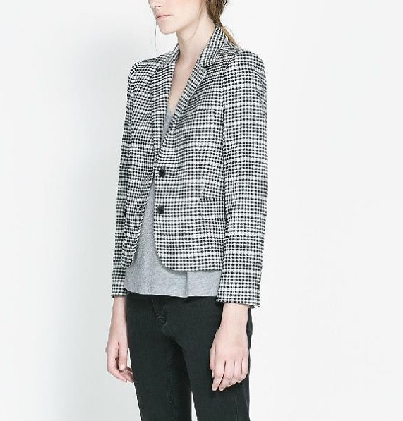 Women blazer jacket Plaid Print fashion long sleeve ...