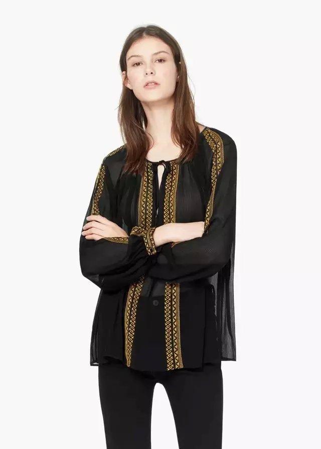 Women blouse Fashion Black Elegant vintage chiffon Geometric ...