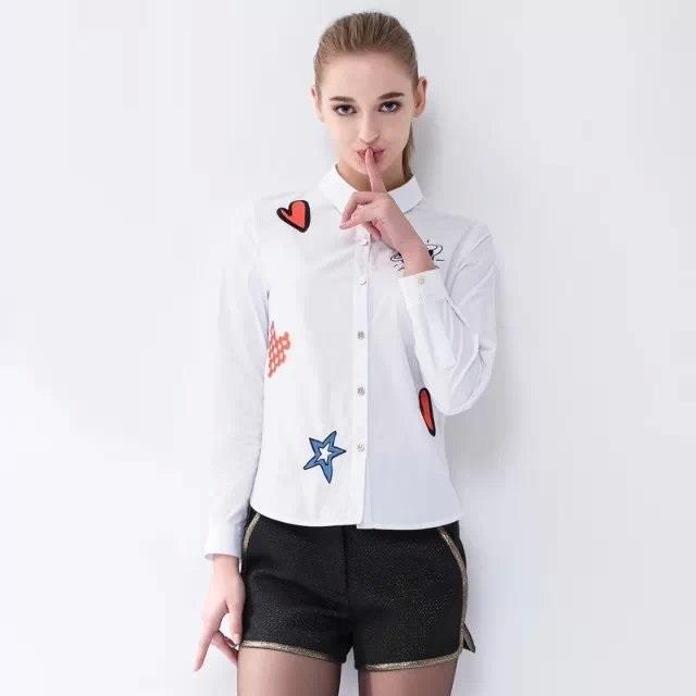 Women Blouse Fashion Cartoon Embroidery Turn-down Collar ...