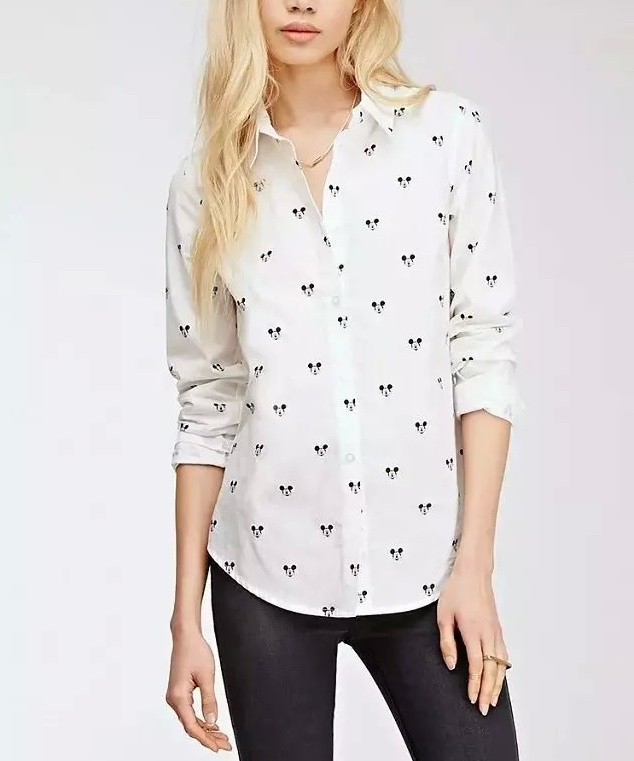 Women Blouse Fashion cotton Mickey Print Turn-down Collar ...