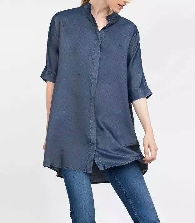 Women Blouse Fashion Denim Standing collar office lady ...