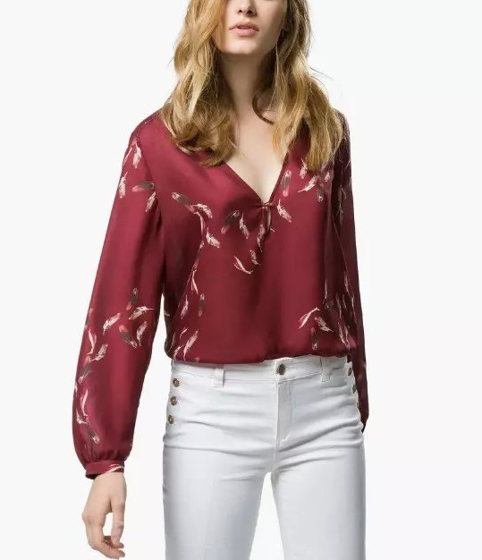 Women Blouse Fashion Feather Print V neck long Sleeve ...