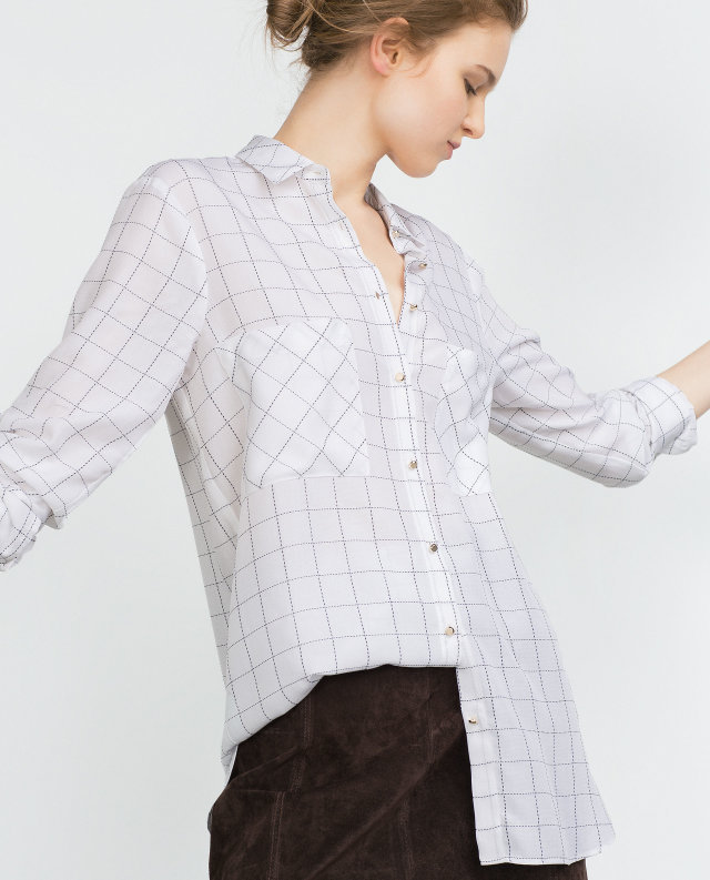 Women Blouse Fashion Plaid print Long Sleeve Turn-down ...
