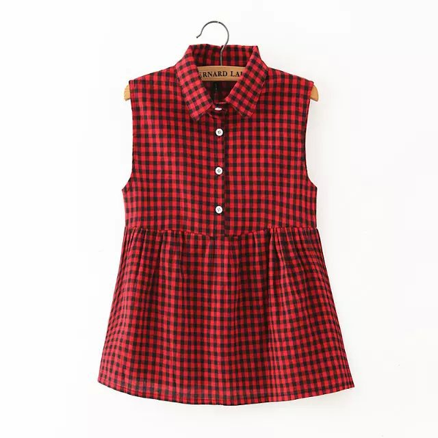 Women Blouse Fashion Plaid Print Turn-down Collar Sleeveless ...