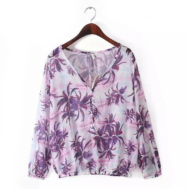 Women blouses Fashion Autumn lady Elegant chiffon tree ...