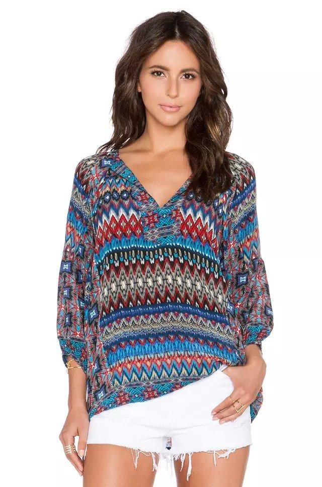 Women blouses Fashion European style Vintage Geometric ...