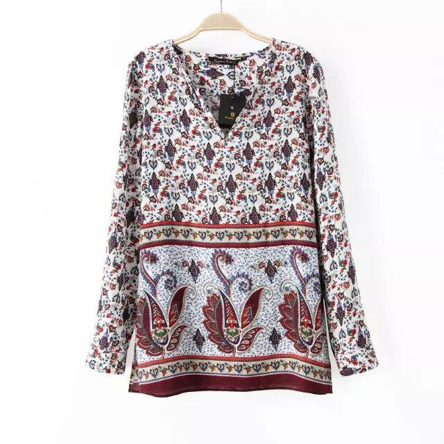 Women blouses Fashion indian Paisley print V Neck Long ...