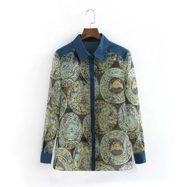 Women blouses Fashion Organza Floral print Patchwork ...