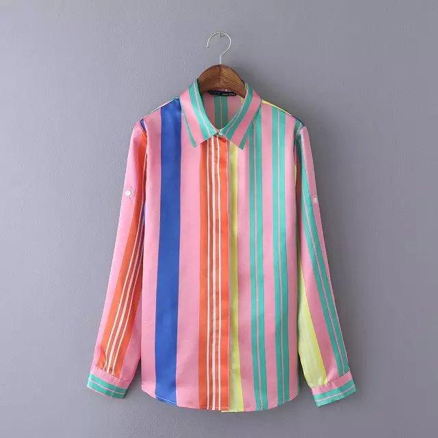 Women blouses Fashion rainbow stripes print Turn-down ...