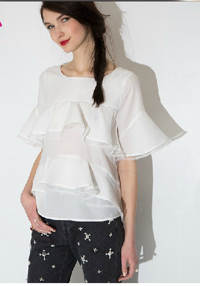 Women blouses Fashion Summer Organza Patchwork O neck ...
