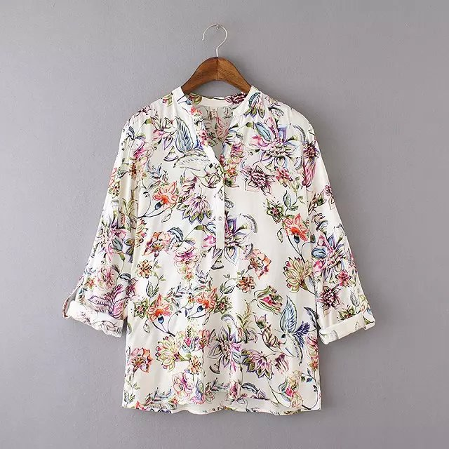 Women blouses New Fashion American style Vintage Floral ...