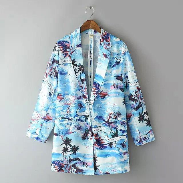 Women Brand jackets Fashion Sandy beach Coconut tree ...