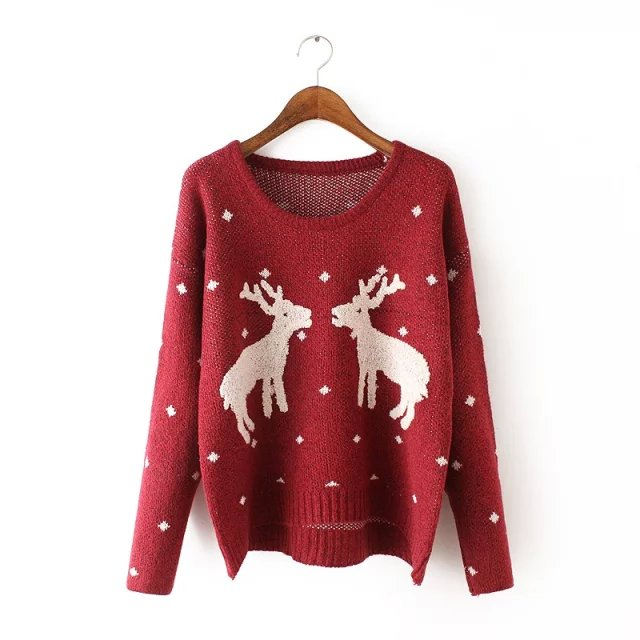 Women Christmas Fashion winter Red Deer pattern O-neck ...
