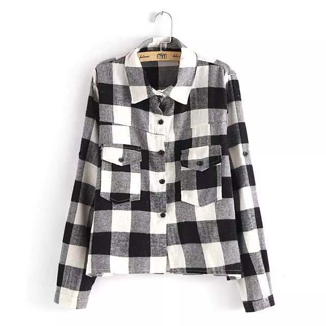 Women Cotton Blouse Fashion School style Black Plaid ...