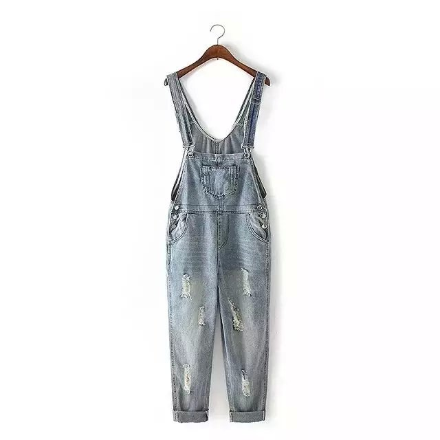 Women Denim Jumpsuits Fashion autumn school blue Pocket ...