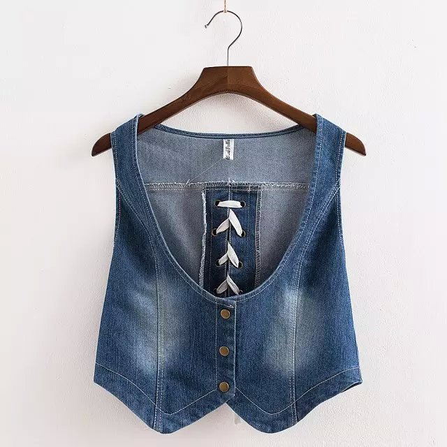 Women Denim vest jacket fashion blue Brief Back Hole ...