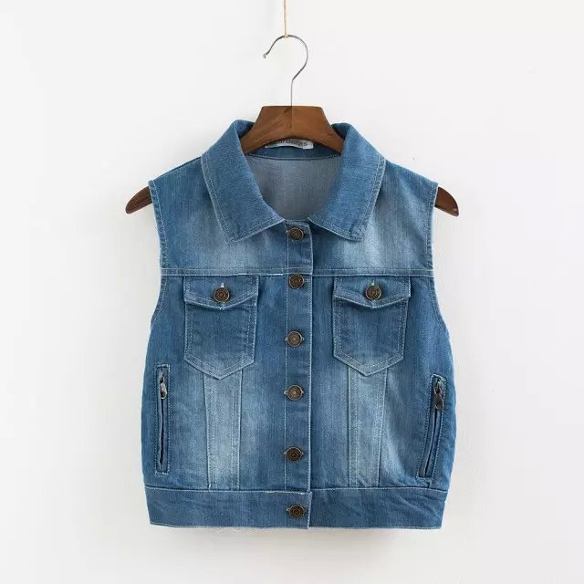 Women Denim vest jacket Spring fashion Turn-down Collar ...