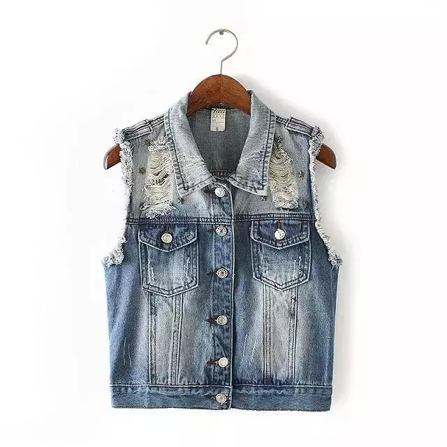 Women Denim vest jeans waistcoat female ladies punk ...