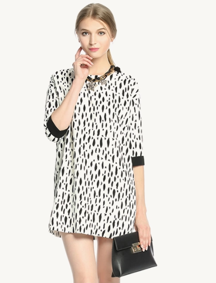 Women Dress Fashion Autumn Leopard Dot print Half Sleeve ...