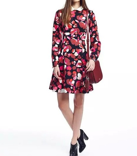 Women Dress Fashion Autumn Rose Print Peter Pan Collar ...