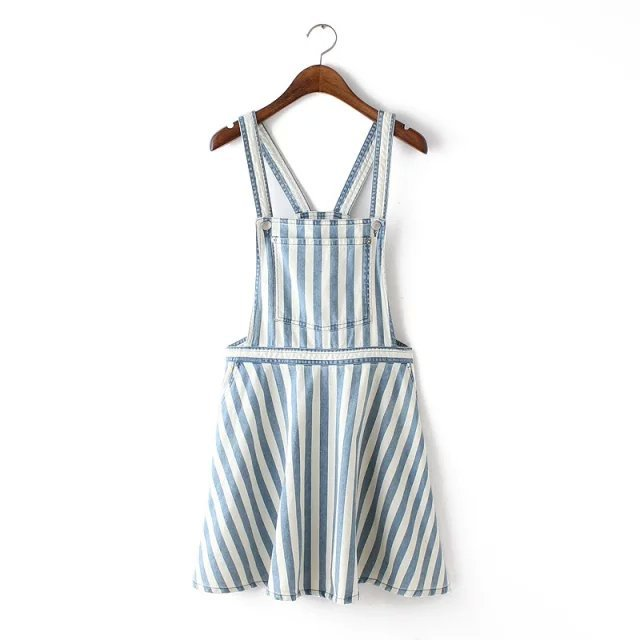 Women dress Fashion Blue White Stripes Spaghetti Strap ...