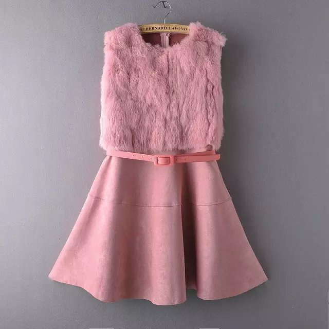 Women dress Fashion winter Pink faux fur patchwork Faux ...