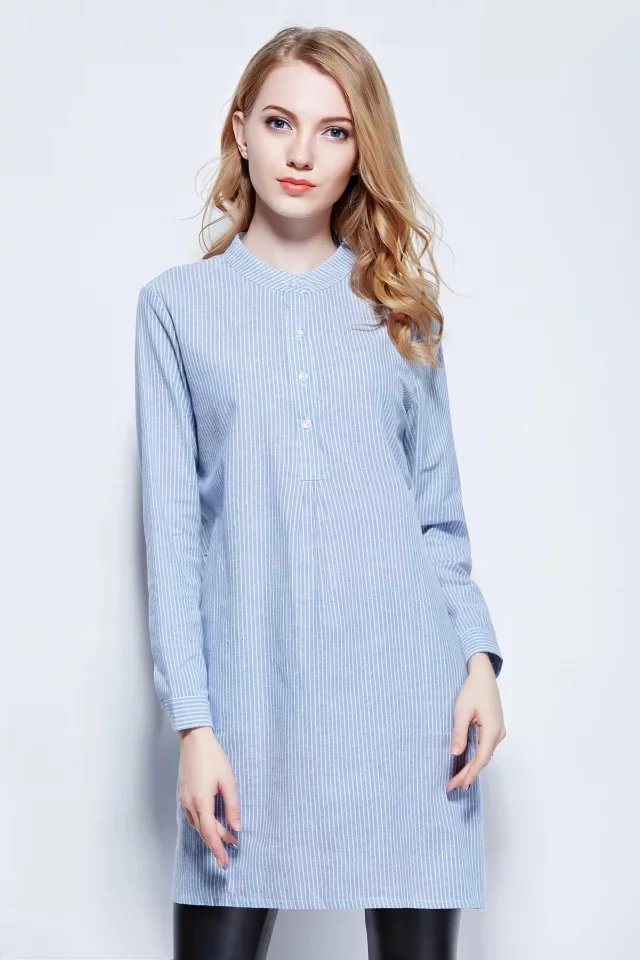 Women elegant Long Shirt Dress Fashion blue Striped ...