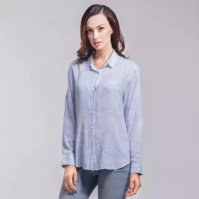 Women fashion elegant blue Floral print blouses vintage ...