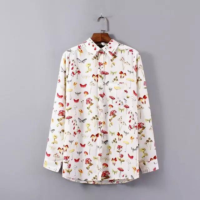 Women fashion elegant Floral mushroom print blouses ...