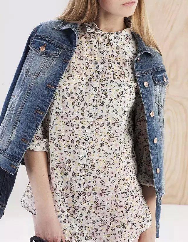 Women fashion elegant Floral print blouses vintage turn-...
