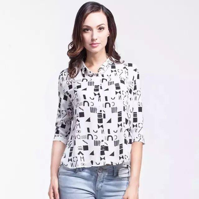 Women fashion elegant Geometric Letter print blouses ...