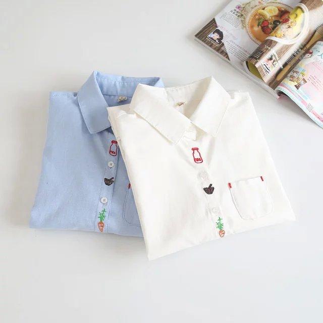 Women fashion elegant Radish Embroidery pocket blouses ...