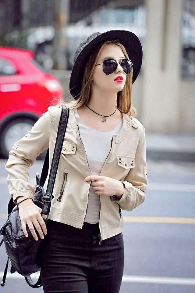 women Fashion elegant Rivet short Jacket vintage zipper ...
